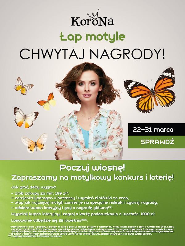 Łap motyle ichwytaj nagrody wwiosennej akcji Centrum Korona