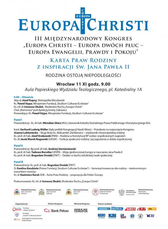 Kongres Europa Christi weWrocławiu - zaproszenie